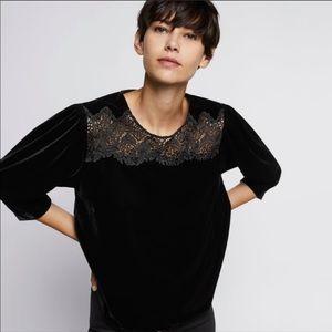 NWT Zara Black Velvet Lace Top Sz Large